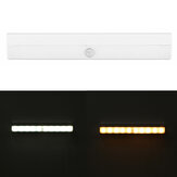 10 LED LED Sensore di movimento Cabinet Light Bar Wireless Batteria / USB Powered Warm / Illuminazione bianca per armadi guardaroba Armadio Scala Cassetto Portico
