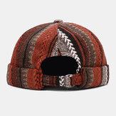 Collrown Unisex afslappet britisk stil stribe patchwork mønster uden kant Beanie udlejer hat kraniet hat