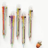5Pcs / lot 8 in 1 Multifunktions Colorful Kugelschreiber gedrückt Kugelschreiber 0,5 mm Schule Supplies