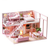 Creative DIY Handmade Assemble Doll House Miniature Furniture Kit with Music Movement LED Effect Dust Proof Cover Toy for Kids Birthday Xmas Gift House Decoration