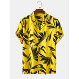 Bangood Designed Mens Tropical Leaf Print Short Sleeve Shirts