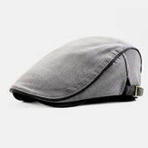 Men British Style Solid Color Casual Fashion Outdoor Forward Hat Beret Hat