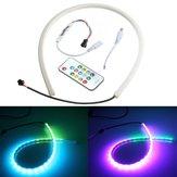 60 centimetri rgb LED luce di striscia flessibile al neon cappuccio kit di decorazioni auto con telecomando