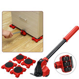 5Pcs Furniture Movers Lifter Transport Tool Set Sistema di sollevamento con 1 dispositivo di sollevamento e 4 cursori