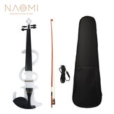 NAOMI Electric Violin 4/4 Electric Silent Violin Full Size Violin Ebony Fretboard with Bag