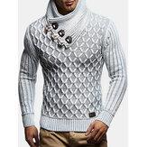Suéteres quentes de malha com textura de malha masculina e gola alta