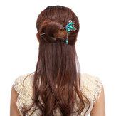 Vintage Kupu-kupu Berlian Imitasi Turquoise Rumbai Hairpin