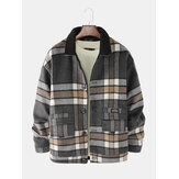 Mens Design Plaid Thicken Long Sleeve Warm Duffle Jacket With Pocket