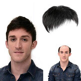 Natural Black Short Men Topper Wig Real Human Hair Toupee Clip For Male Guy Daily Wear