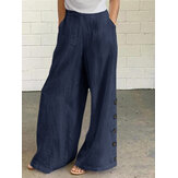 النساء القطن الصلبة اللون زر الجانب جيب الخصر مرونة السراويل واسعة الساق