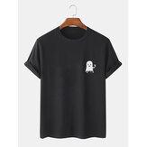 Mens Halloween Cartoon Ghost Print Cotton Short Sleeve T-Shirts