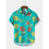 Camisas Casuais Masculinas Tropical Pineapple Padrão