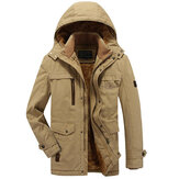 Mens Cotton Thick Fleece Outdoor Winter Jacket