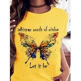 T-shirt em torno do pescoço colorido da borboleta impressão solta casual camisetas para mulheres