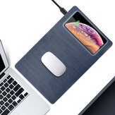 FONKEN Mouse PU Wood Grain Quick Charge Pad Qi 5W 10W USB Wireless Charger for Phone Charging Pad Desk