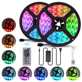 2PCS 5M 5050 LED Strip Light RGB Waterproof Decorative Lamp + Power Supply + 44Keys Remote Control DC12V