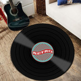 Vinyl Records Innovative Teppe Runde Gulvmatte Europe Fashion Retro Svart Teppe Record Mønster Rug