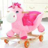 Bébé enfant jouets 50 * 28 * 58CM en bois en peluche cheval à bascule Little Rock Licorne Style Rocker