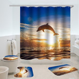 Dolphin Pattern Shower Curtain Waterproof Fabric Bath Accessory 3D Printing Ocean Curtain for Bathroom Green