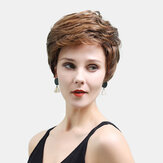Real Hair Lady Wig Gold-brown Mixed Color Short Hair Wearing A Comfortable Hair Cover