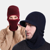 Unisex One-piece Plus Velvet Windproof Keep Warm Riding Outdoor Neck Protection Headgear Knitted Hat Beanie