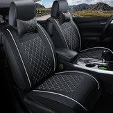 CoprisedileanterioreautoinpellePU doppio con cuscino universale per auto a cinque posti in bianco e nero