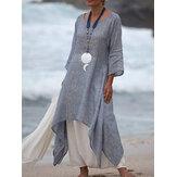 Frauen 3/4 Ärmel Lose O-Ausschnitt High Low Hem Leinen Baumwolle Kleid