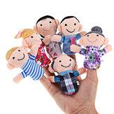 Familia divertida historia de títeres para los dedos de juguete de regalo conjunto para los niños del bebé