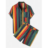 Mens Cotton Colorful Stripe Patch Pocket Atmungsaktives Kurzarmhemd & Shorts Co-ord