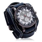Deffrun Fashionable Cow Leather Band Men Wrist Watch Stereoscopic Numerals Design Quartz Watch