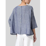 Women Loose Pure Color Button Down Back High Low Hem Blouse