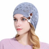 Vrouwen Gebreide Beanie Hoeden Casual Hollow Out Knoop Knoop Wollen Warme Bonnet