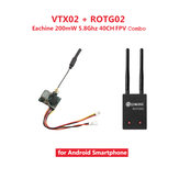 Eachine VTX02 + ROTG02 FPV Combo 5.8G 40CH 200mW Diversity Audio Transmitter Receiver Set Black for Android Phone Non-original