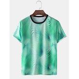 メンズ3DグラディエントプリントアクティブウェアショートスリーブTシャツ