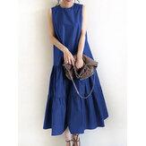 Kadın Kolsuz Düz Renk O-Boyun Günlük Katmanlı Maxi Elbise