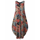Loose Lantern Sleeveless Vintage Printed Maxi Dress For Women