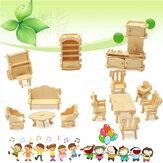 34 Pcs 3D DIY Wooden Dollhouse em miniatura Modelo Móveis Unpainted Suite Brinquedos