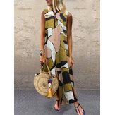Plus Rozmiar Casual Reprodukcja V-neck Bez rękawów Holiday Maxi Dress