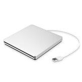 DVD-RW externo USB 3.0 prateado portátil Max.24X Transmissão de dados de alta velocidade para Win XP Win 7 Win 8 Win 10 Mac