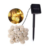 Solar Powered 6.5 M 30 LED Rattan Balls Fairy String Lights Bianco caldo / Multicolor Vacanze di Natale Outdoor Impermeabile Patio Ghirlanda Luci decorative