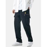 Erkek Düz Renk Çok Cep Nefes Alabilir Gevşek Cargon Pantolon
