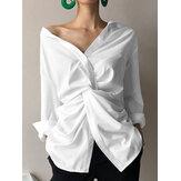 Kadın Düz Renk Düğmesi Uzun Kollu Yüksek Düşük Hem Casual Bluz