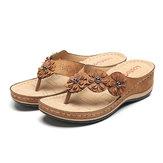 LOSTISY Comfy Flip Flop Flowers Wedge Sandals