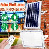Dış Mekan 80/144 / 240LED Solar Taşkın Işık Su Geçirmez Bahçe Sokak Duvarı Lamba + Uzakdan Kumanda