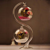Hanging Glass Iron Ball Flower Vase Micro Landscape Terrarium with S Support Stand