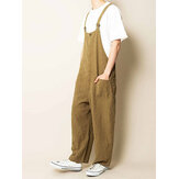 Herren 100% Baumwolle Multi Pockets Straight Wide Leg Loose Fit Overalls Hose