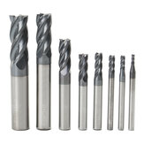 Drillpro 8st 2-12mm 4 Fluiten Carbide End Mill Set Wolfraamstaal Frees CNC Tool