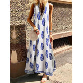 Bohemian Women V Neck Floral Print Sleeveless Maxi Dress