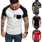 Erkek Rahat Baskılı T-shirt İnce Fit T-shirt Kısa kollu Spor Ekibi Boyun Erkekler Giyim Tops