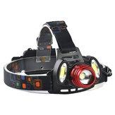 XANES 2305 1200 Lumens T6 + 2xCOB Bicycle Headlamp Механический Zoom Регулируемая головная лампа